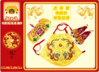 鈴虎系列 手工無頂繡花虎頭帽(紅.黃)兩款+虎頭鞋+金龍緞面肚兜 裝3件組