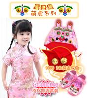 萌虎精緻粉紅虎頭帽+粉虎包鞋+B款改良寶寶粉牡丹旗袍唐裝
